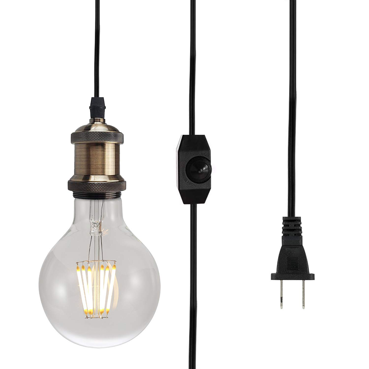 Plug in Pendant Lighting Vintage Edison E26 Industrial Hanging Light Fixture Cord with ON/Off Dimmer Switch 10 ft Handing Cord, 2-Prong US AC Power Plugs, UL Listed Lamp Sockets (No Bulb Included)