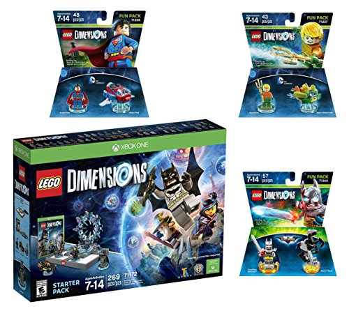 Lego Dimensions DC Comics Super Heroes Starter Pack + Superman + Batman + Aquaman Fun Packs for Xbox One or Xbox One S Console by WB Lego
