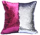 """BOOBEI Two Colors Reversible Sequins Mermaid Pillow Cases 1616"""" Rose Pink and Silver"""