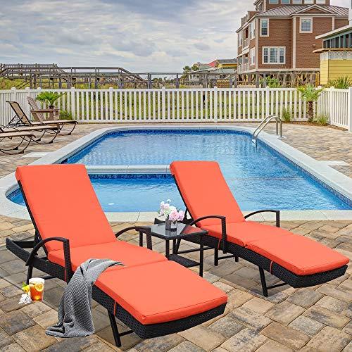 (LEAPTIME Patio Lounge Chair 3pcs Outdoor Loungers Black Rattan Adjustable 5 Position PE Wicker Sunbed Furniture with Orange Cushion (3 Piece, Orange))