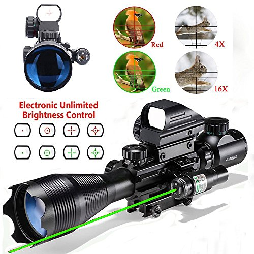 Thmeth AR15 Tactical Rifle Scopes 4-12X50EG Dual Ill Optical Reticle Scope with Holographic R&G Dot Sight 500MM Green Laser Weaver/Picatinny Mount (C4-16x50EG+HD103+JG8(Green Laser))