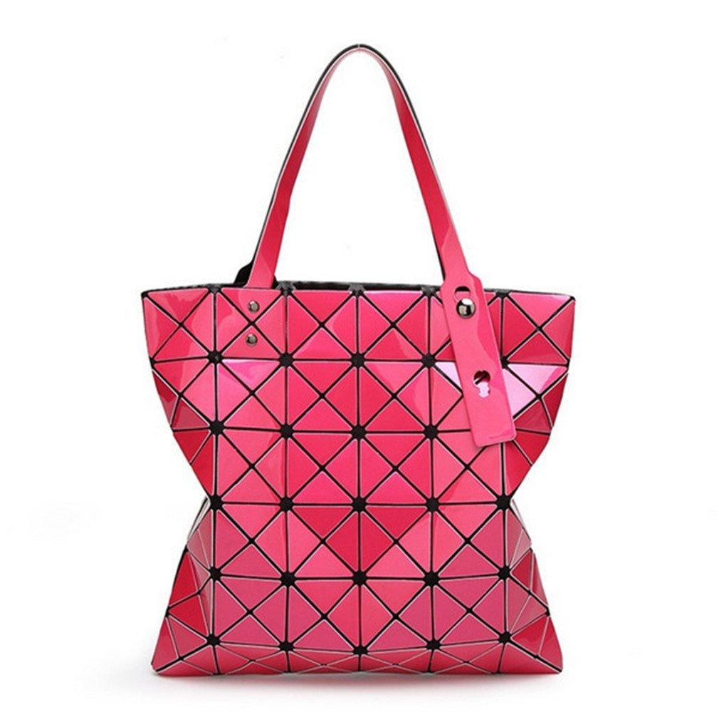 15 Colors Women Geometry Bao Tote Shimmer Handbag Diamond Lattice Shopper Hot pink