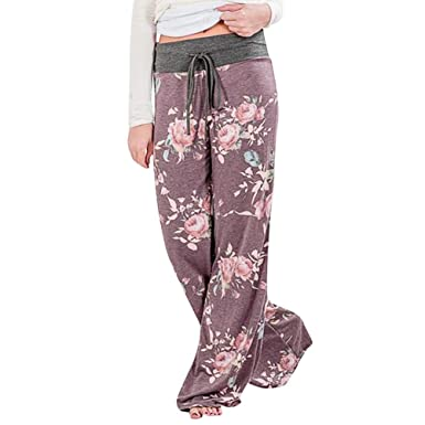 2e462629bd U.Expectating Pants Large Size Women Summer Floral Print Loose Yoga Wide  Leg Trousers Pants: Amazon.co.uk: Clothing