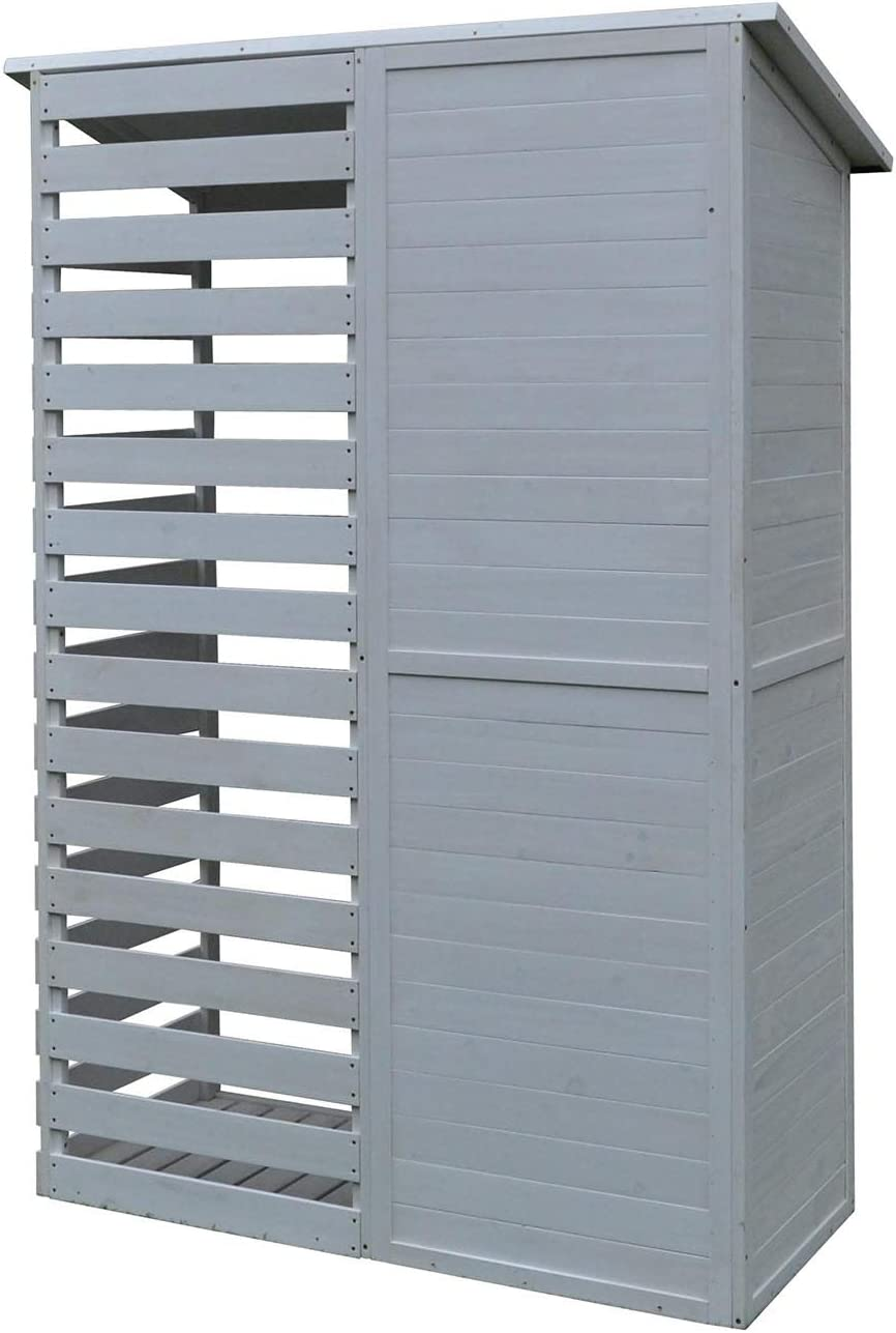 White AIRWAVE Millport Garden Tool Shed with Log Store Pressure Treated Outdoor Wood Storage