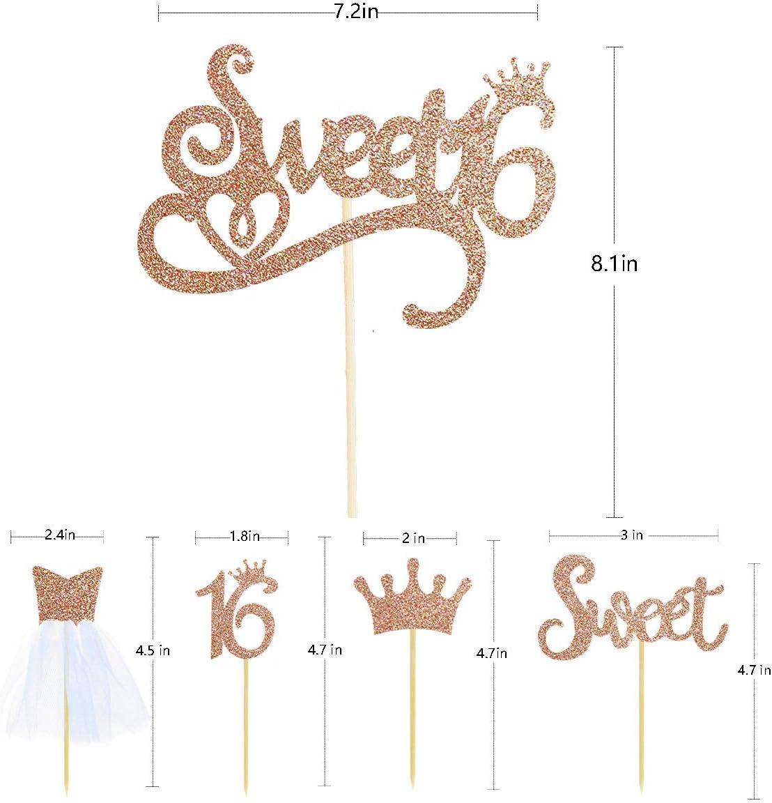 Pink Blume 33 pcs Sweet 16 Topper pour g/âteaux D/écorations pour f/êtes danniversaire Sweet Sixteen Cake Toppers avec paillettes en or rose Sweet Sixteen Cupcake Topper Kit pour 16 anniversaires