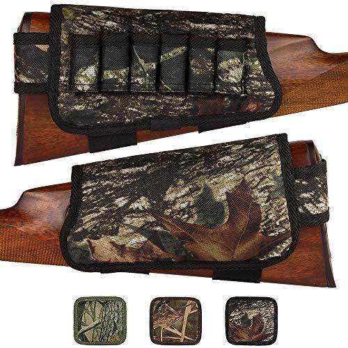 BronzeDog Nylon Shotgun Shell Holder Adjustable Buttstock Pouch Padded Rifle Cheek Rest Hunting Accessories 12 16 Gauge Right Left Handed (Black Oak Camo Right)