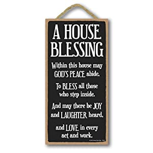 Honey Dew Gifts Inspirational Decor, A House Blessing 5 inch by 10 inch Hanging Sign, Wall Art, Decorative Wood Sign Home Decor