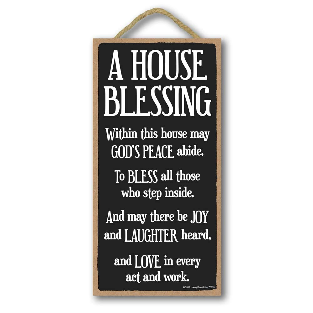 Honey Dew Gifts Inspirational Decor, A House Blessing 5 inch by 10 inch Hanging Sign, Wall Art, Decorative Wood Sign…