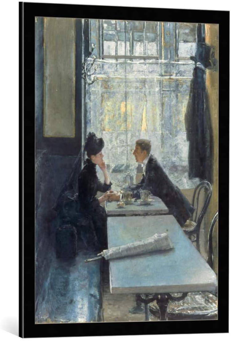 Kunst für Alle Cuadro con Marco: Gotthardt Johann Kuehl Amoureux Au Cafe - Impresión artística Decorativa con Marco, 60x80 cm, Negro/Canto Gris