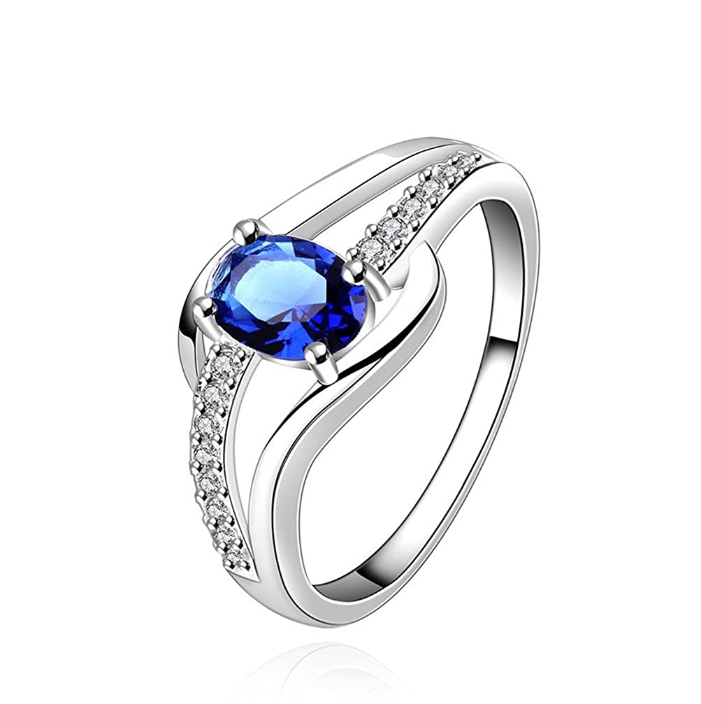 HMILYDYK New Fashion 925 Sterling Silver plated Beautiful Blue Ocean Crystal Ring Classic Design Silver Jewelry GUERPCR562