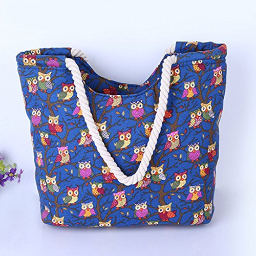 Oversized Canvas Shopping Millya Holiday 13 Tote Pattern Black Travel Owl Shoulder Inch 5 Bag Beach wI4rPdqz4