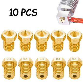 10 Piezas 3D 0.4mm Boquilla de Impresora, Vibury Boquilla M6 ...