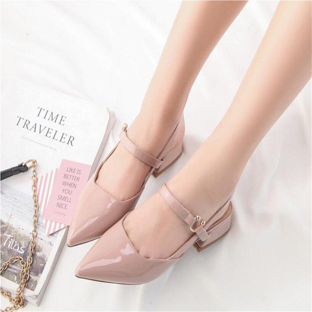 Xue Qiqi Court Schuhe Lacklederschuhe Wilde Schnalle mit Spitzen Spitzen Spitzen Dicken mit Einzelnen Schuhe Weiblich mit Baotou Schuhe 51baf5