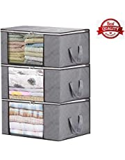 Storage Bag Organizers, Large Clear Window & Carry Handles, Great for Clothes, Blankets, Closets, Bedrooms, and More(3-P)