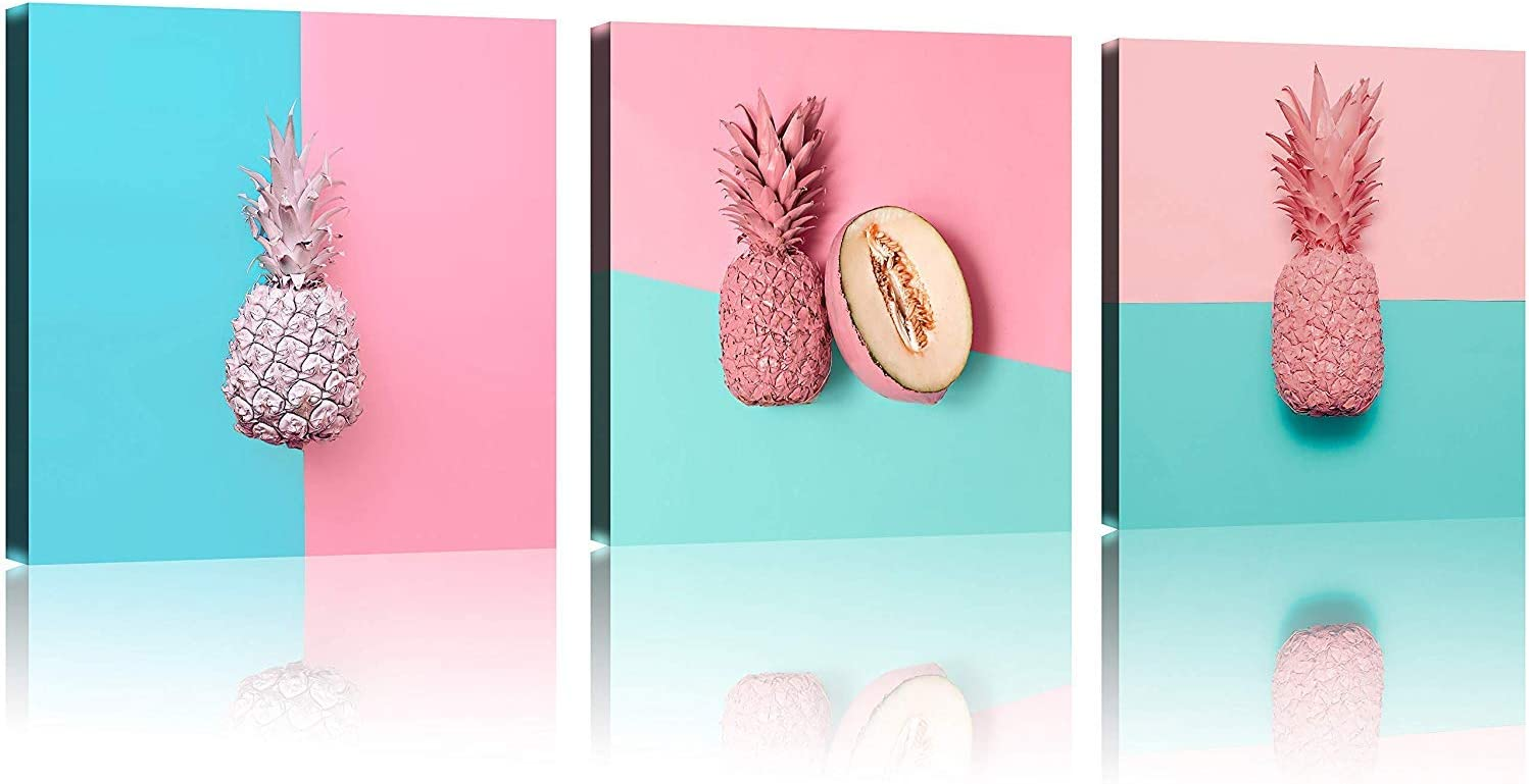 TutuBeer Pink Art Plant Art with Pink Pineapple at Pink and Blue Tropical Decor Plant Aall Art 12