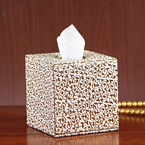 Victorian Tissue Dispenser - Decorative Roll Facial Paper Dispenser Case - PU Leather Tissue Holder Box Cover for Bathroom Toilet Kitchen Office Car - Square Dimension 5