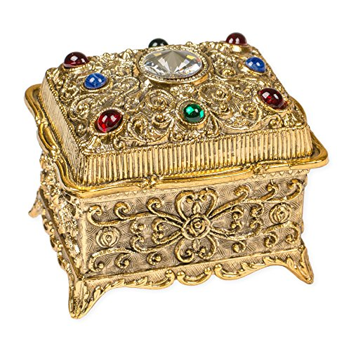 Trunk Shaped Swarovski Crystal Jewel Gold Tone Metal Music Box Plays Tune Lara's Theme