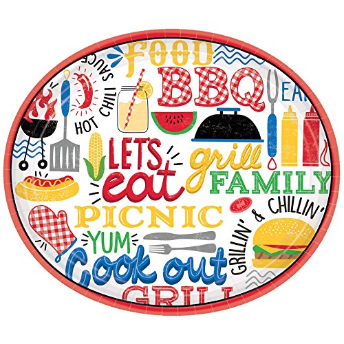 Amscan 721951 Party Supplies BBQ Picnic Oval Paper Plates, 12