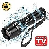 LED懐中電灯 ハンディライト 超高輝度 ズーム式 5モード切替 1000ルーメン アウトドア 強力 防水 防災 軍用