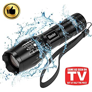 Tactical Flashlight, iBester 1600 Lumens CREE XML-T6 Flashlight, Portable,  Zoomable, 5 Modes, Water Resistant, Perfect for Camping, Outdoor, Emergency