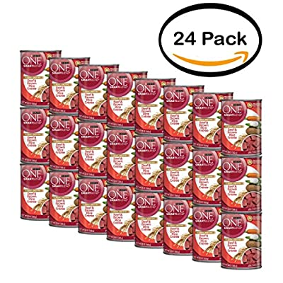Purina ONE Pack of 24 SmartBlend Classic Ground Beef & Brown Rice Entree Adult Dog Food 13 oz. Can