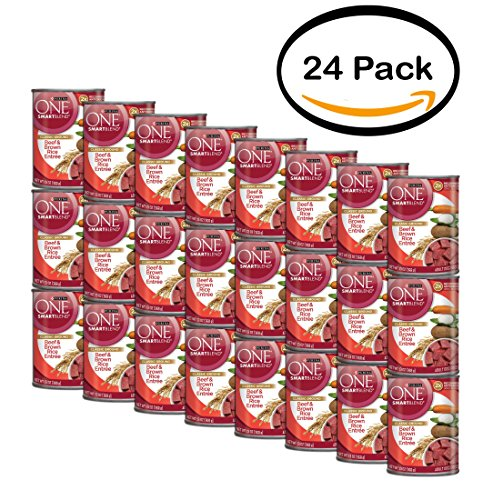 PACK OF 24 - Purina ONE SmartBlend Classic Ground Beef & Brown Rice Entree Adult Dog Food 13 oz. Can