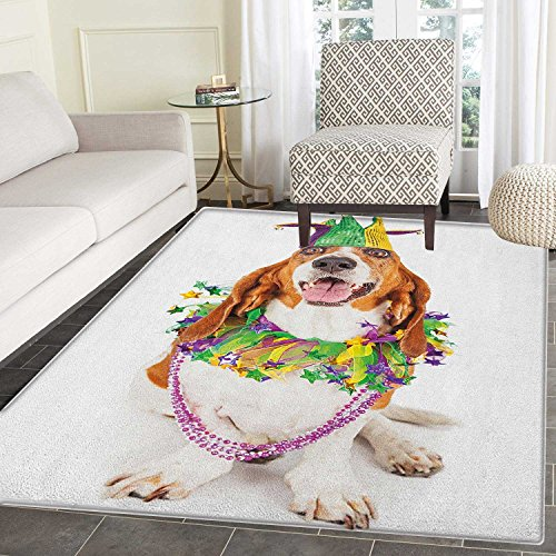 Mardi Gras Area Silky Smooth Rugs Happy Smiling Basset Hound Dog Wearing a Jester Hat Neck Garland Bead Necklace Floor Mat Pattern 4'x6' Multicolor