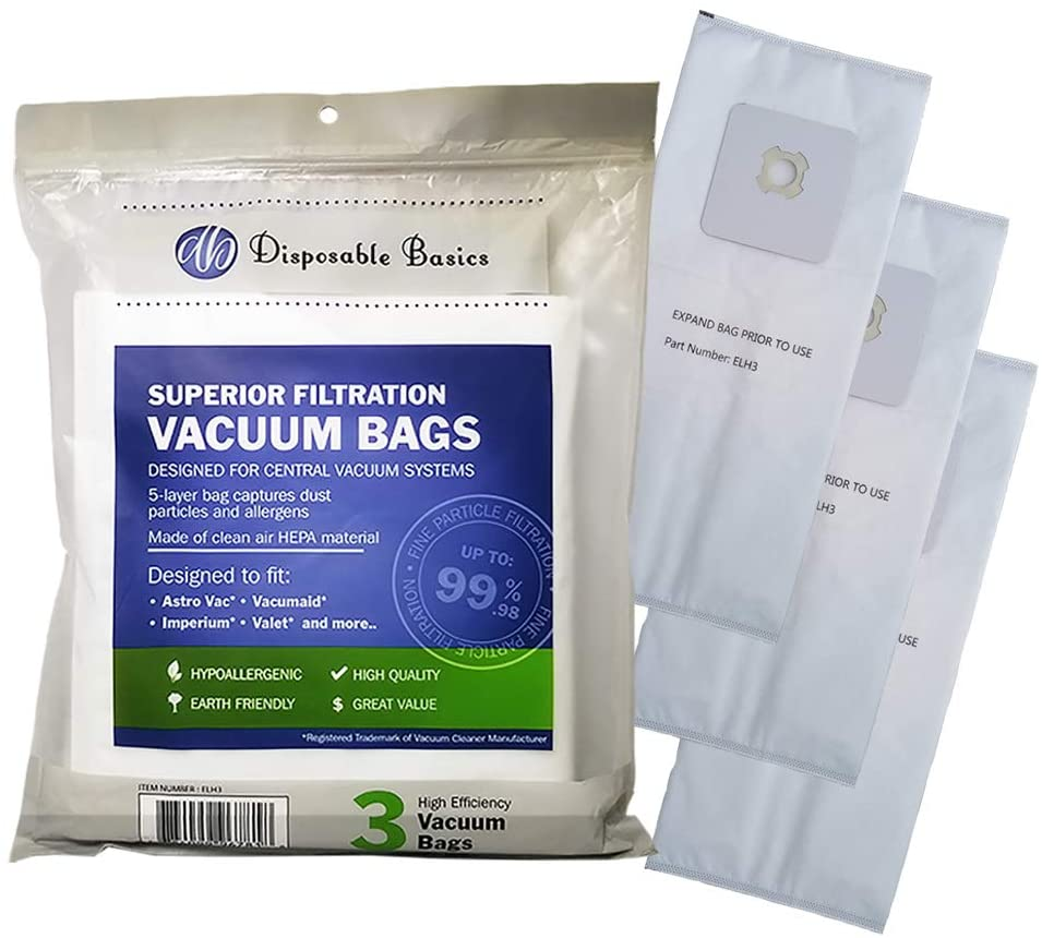Disposable Basics HEPA Filtration Bags for Central Vacuum Systems ELH3 (3 Pack)