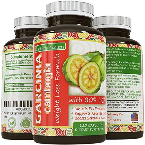 Pur 80% HCA Extrait Garcinia Cambogia, n ° 1 formule de première qualité pour la perte de poids et suppression de l'appétit - Plus haut grade, la meilleure qualité Premium - Calcium gratuit - Assurée par les produits de la Californie