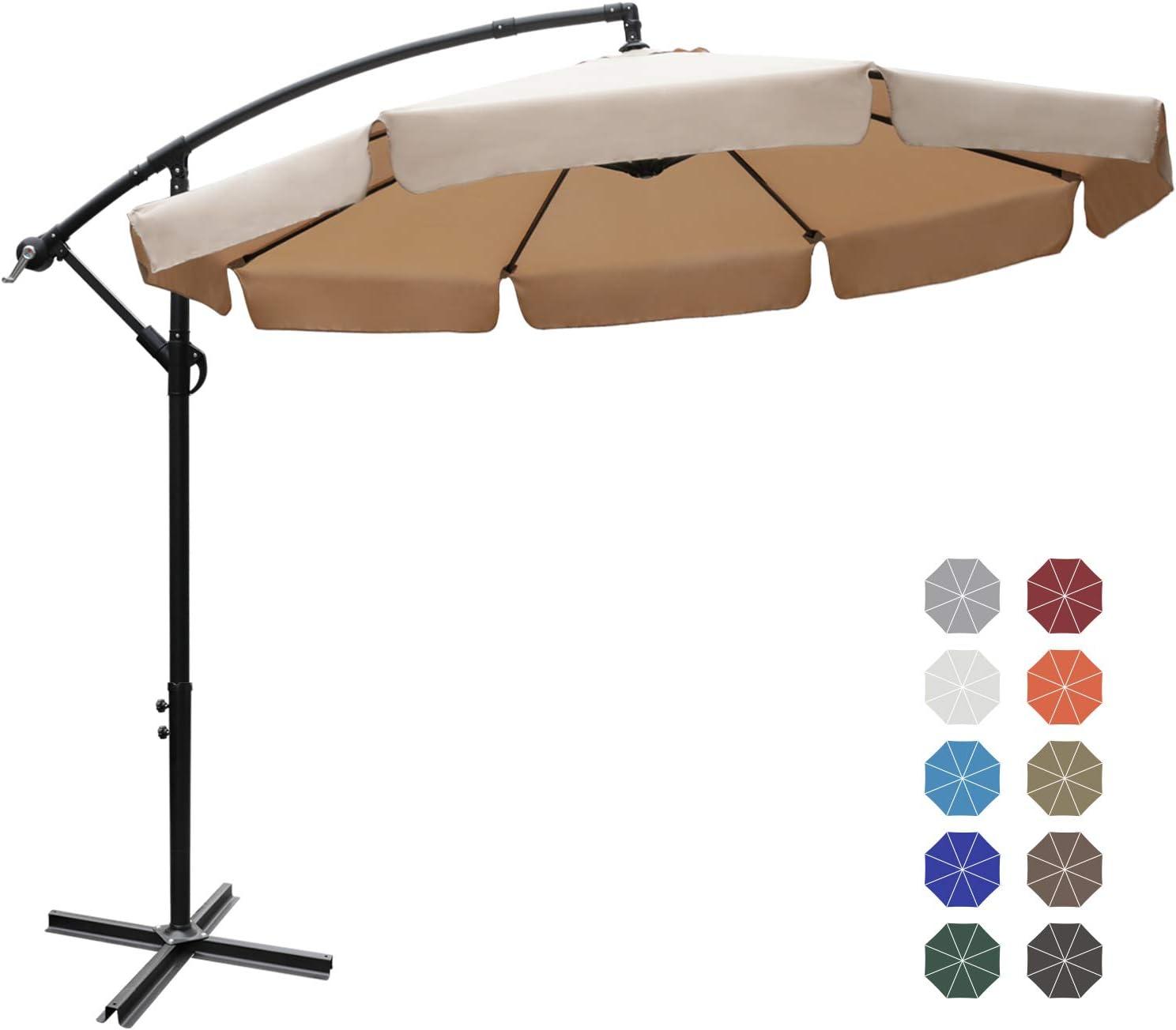 Patio Umbrellas Cantilever Umbrella Offset Hanging Umbrellas 9 FT Outdoor Market Umbrella with Crank & Cross Base for Garden, Deck, Backyard, Pool and Beach, 12+ Colors,Khaki