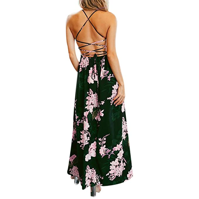Amazon.com: Women\'s Dress Floral Bohemian Spaghetti Strap Criss ...