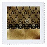 3dRose Uta Naumann Vintage Lace Collection - Black Elegant Floral Lace on Luxury Chic Gold Metal Background - 25x25 inch quilt square (qs_269077_10)