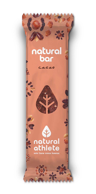 Barritas energéticas -Natural Athlete- 100% natural y orgánico, sin azúcar añadido. Pack 12x40gr (cacao): Amazon.es: Alimentación y bebidas