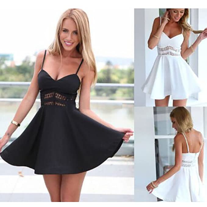 WINWINTOM Women Spring Summer Sexy Sleeveless Lace V Neck Hollowed Out Dress Ladies Sexy Solid Short Sleeve Mini Dress Casual Sundress Beach Party Dresses ...