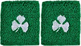 St. Patrick's Day Good Luck Clover Wrist Bands (Pair) (Green w. White Shamrock)