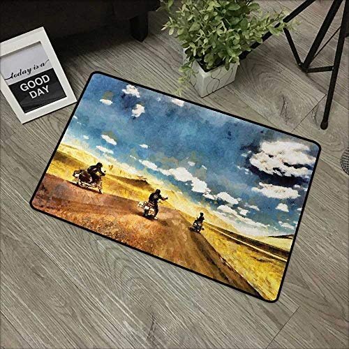 Meeting Room mat W16 x L24 INCH Country,Group of Friends Band on Motorcycles in Countryside Rural Adventure Travel Up Art Work,Multi Easy to Clean, Easy to fold,Non-Slip Door Mat Carpet