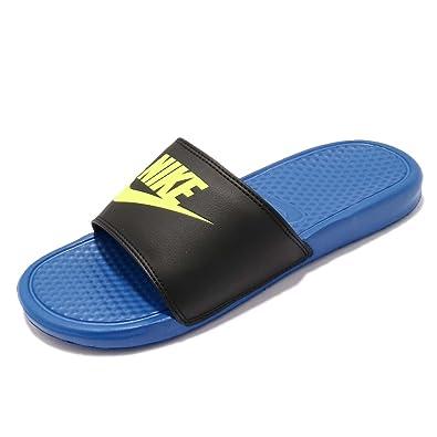 62ab1631bc40 Nike Men s Benassi JDI Mismatch - Black Volt-Blue Spark - 818736-074 ...