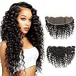 10 inch Deep Wave Free Part Closure Brazilian Deep Wave Frontal Lace Closure Ear to Ear Lace Frontal Closure130% Density Lace Closure 100% Unprocessed Virgin Brazilian Hair Deep Curly Frontal