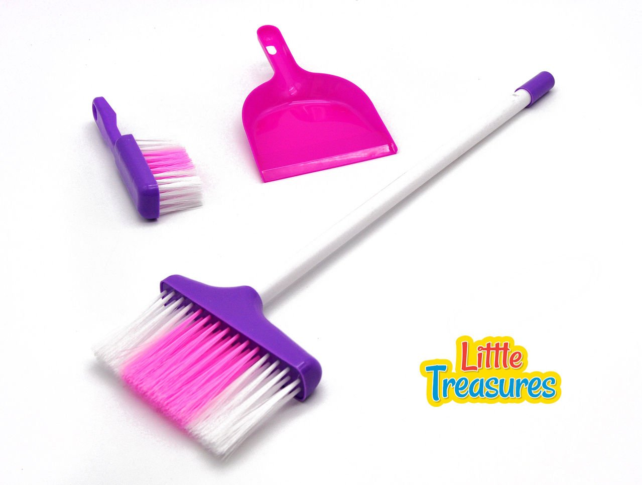Little Treasures Little Helper 3-Piece Broom Set for Ages 3 and up with dustpan, hand broom, and long broom