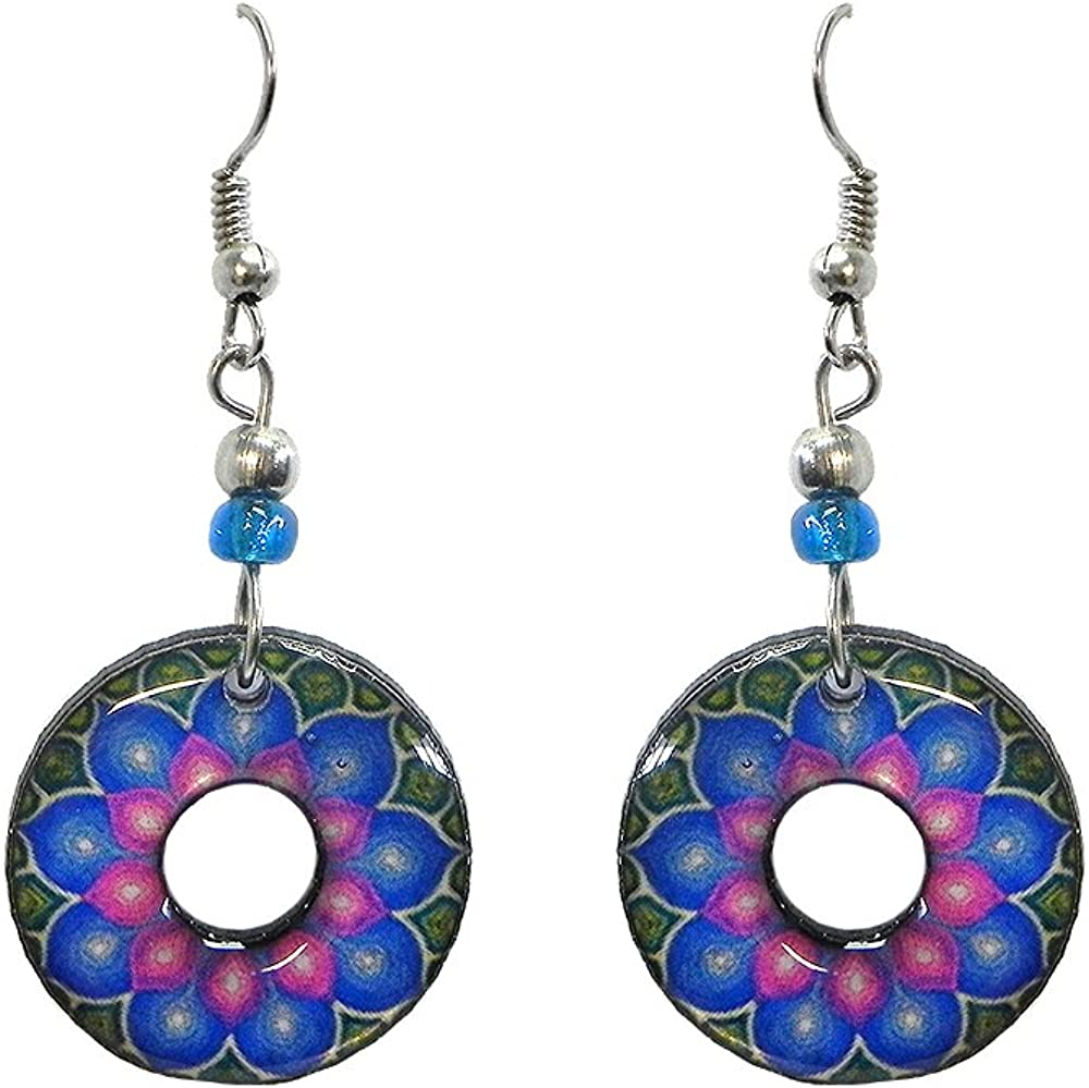 New Age Round with Hole Dangle Earrings