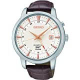 Seiko SUN035P1 Mens Kinetic Gmt,Steel Case & Brown Leather,100m WR,SUN035