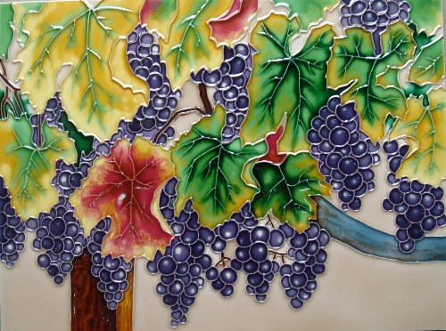 Decor Ceramic Tile (Continental Art Center AD-0353 12 by 16-Inch Horizontal Grapes Ceramic Art Tile)
