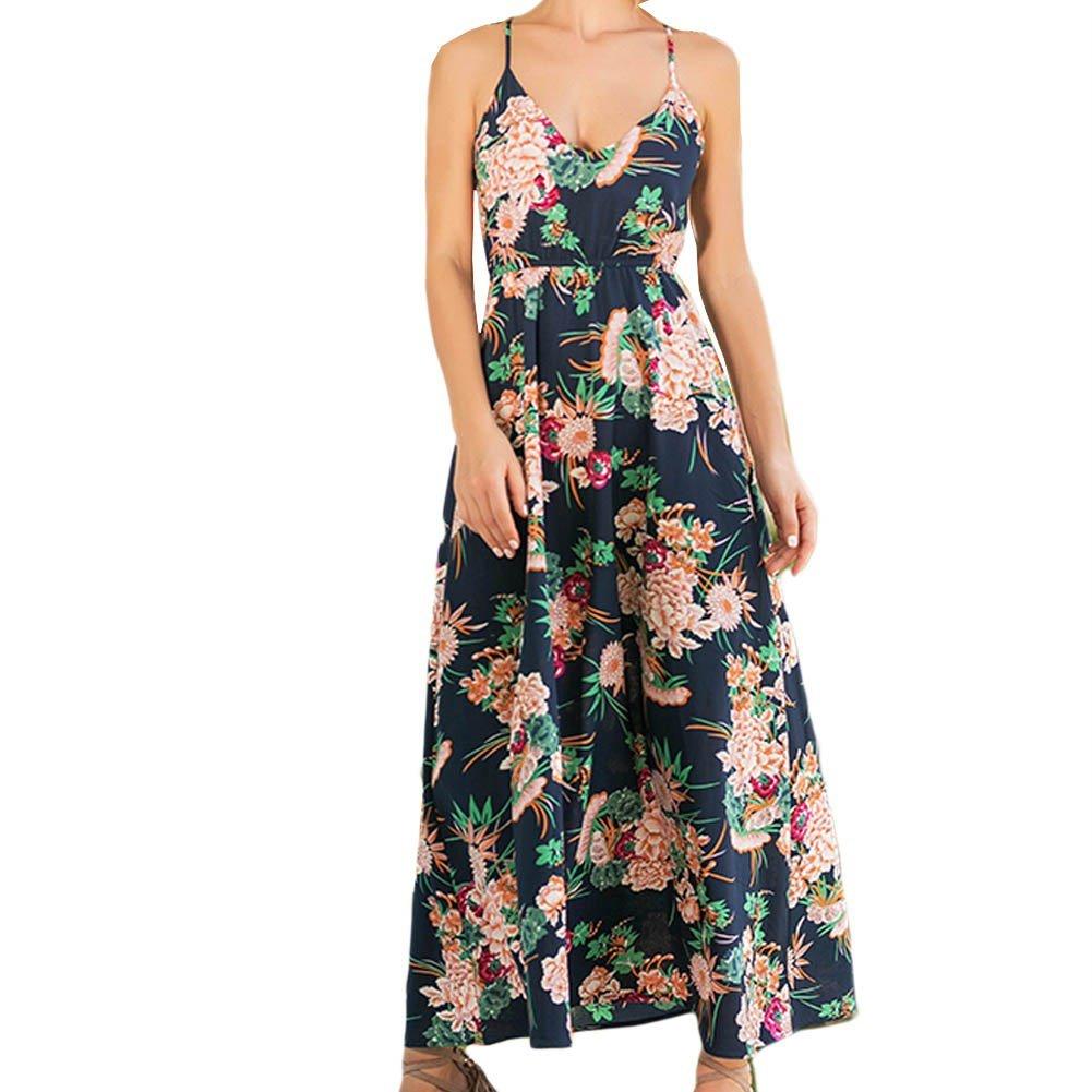 KOERIM Women's Floral Print V Neck Spaghetti Strap Long Boho Maxi Dress