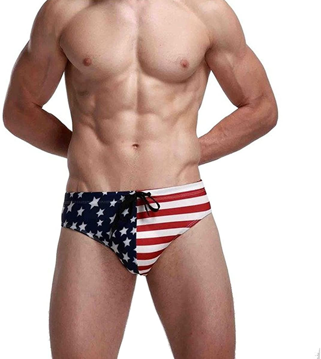 Banana Bucket Men's America Flag Stars Low Rise Swimwear Bikini Briefs Beach Swimsuit