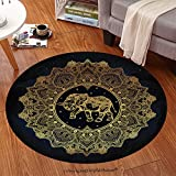 sophiehome Soft Carpet 311774117 Hand drawn ornate paisley mandala with elephant inside Ideal ethnic background, tattoo art, yoga, African, Indian,Thai, spiritual Anti-skid Carpet Round 47 inches