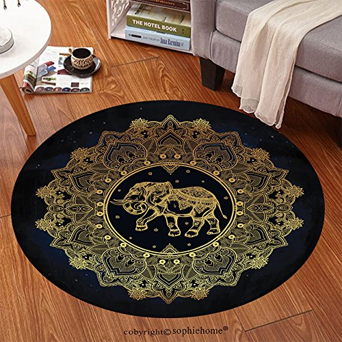 sophiehome Soft Carpet 311774117 Hand drawn ornate paisley mandala with elephant inside Ideal ethnic background, tattoo art, yoga, African, Indian,Thai, spiritual Anti-skid Carpet Round 47 inches by sophiehome