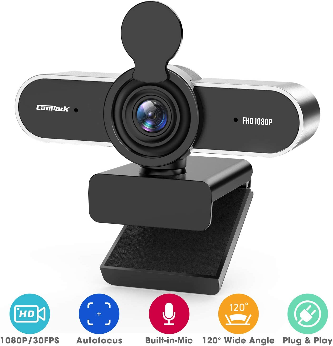 1080P Webcam with Microphone, Campark HD Webcam for Desktop or Laptop, USB Computer Camera with Privacy Cover and Low-Light Correction for Streaming, Video Calling, Conference, Plug and Play