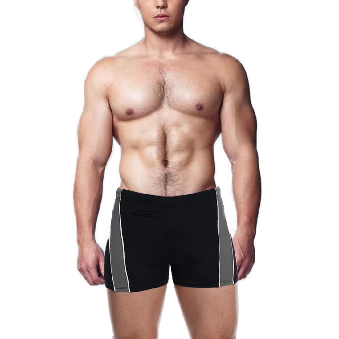 COLO Men Swimwear Solid Basic Tunks Surf Shorts Swimming Briefs Quick Dry Plus Size with Zipper Pocket 3XL