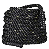Topeakmart 50ft Heavy Battle Rope 1.5'' Poly Dacron Climbing Training Workout Strength Training Black