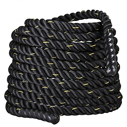 Topeakmart 50ft Heavy Battle Rope 1.5'' Poly Dacron Climbing Training Workout Strength Training Black by Topeakmart